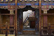 Ornate doorway in Wangdichholing Dzong, Jakar, Bhutan