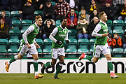 New signing 22 Florian Kamberi scores his first goal during the Ladbrokes Scottish Premiership match between Hibernian and Motherwell at Easter Road, Edinburgh, Scotland on 31 January 2018. Picture by Kevin Murray.