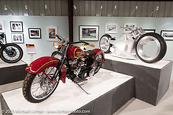 Cole Foster's Chris Huber Harley-Davidson Flathead cruiser custom in the Heavy Mettle - Motorcycles and Art with Moxie exhibition at the Sturgis Buffalo Chip. This is the 2020 iteration of the annual Motorcycles as Art series curated and produced by Michael Lichter. Sturgis, SD, USA. Friday, August 7, 2020. Photography ©2020 Michael Lichter.