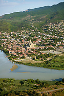 The confluence of the Aragvi and Mtkvari Rivers, in Central-Eastern Georgia, some 20km northwest of Tbilisi and the town of Mtkvari with the Svetitstkhoveli Cathedral at its centre .<br /> <br /> Visit our MEDIEVAL PHOTO COLLECTIONS for more   photos  to download or buy as prints https://funkystock.photoshelter.com/gallery-collection/Medieval-Middle-Ages-Historic-Places-Arcaeological-Sites-Pictures-Images-of/C0000B5ZA54_WD0s<br /> <br /> Visit our REPUBLIC of GEORGIA HISTORIC PLACES PHOTO COLLECTIONS for more photos to browse, download or buy as wall art prints https://funkystock.photoshelter.com/gallery-collection/Pictures-Images-of-Georgia-Country-Historic-Landmark-Places-Museum-Antiquities/C0000c1oD9eVkh9c .<br /> <br /> Visit our MEDIEVAL PHOTO COLLECTIONS for more   photos  to download or buy as prints https://funkystock.photoshelter.com/gallery-collection/Medieval-Middle-Ages-Historic-Places-Arcaeological-Sites-Pictures-Images-of/C0000B5ZA54_WD0s<br /> <br /> Visit our REPUBLIC of GEORGIA HISTORIC PLACES PHOTO COLLECTIONS for more photos to browse, download or buy as wall art prints https://funkystock.photoshelter.com/gallery-collection/Pictures-Images-of-Georgia-Country-Historic-Landmark-Places-Museum-Antiquities/C0000c1oD9eVkh9c