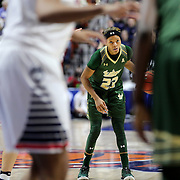 Shalethia Stringfield, USF, in action during the UConn Huskies Vs USF Bulls 2016 American Athletic Conference Championships Final. Mohegan Sun Arena, Uncasville, Connecticut, USA. 7th March 2016. Photo Tim Clayton