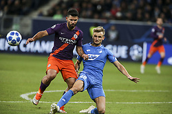 October 2, 2018 - Sinsheim, Germany - Sergio Aguero 10; Stefan Posh 38; seen in action during the UEFA Champions League group F football match between TSG 1899 Hoffenheim and Manchester City at the Rhein-Neckar-Arena. (Credit Image: © Elyxandro Cegarra/SOPA Images via ZUMA Wire)