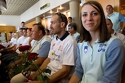 Jan Zumer and Tina Jures at arrival of team Slovenia at the end of European Athletics Championships Barcelona 2010 to Slovenia, on August 2, 2010 at Airport Joze Pucnik, Brnik, Slovenia. (Photo by Vid Ponikvar / Sportida)