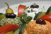 The Greek Corner, Colombus, Ohio: Spinach feta and spicy feta cheeses and tzatziki dips.