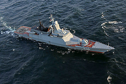 March 27, 2019 - Corvettes of the Baltic fleet and in the interaction with anti-submarine helicopters participate in joint tactical exercises on the search for the submarine of the conditional opponent  MOD Russia via globallookpress.com (Credit Image: © Russian Look via ZUMA Wire)
