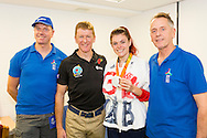 British Astronaut Tim Peake pictured with paralympian athlete Lauren Steadman during the UK Space Agency Schools Conference hosted by the University of Portsmouth at the Guildhall in the city.<br /> The conference celebrated the work of over a million UK school students inspired by Peake's Principia mission, which saw the flight dynamics and evaluation graduate spend more than six months on board the International Space Station.<br /> Youngsters had the chance to present their work through talks and exhibitions to experts from the UK Space Agency, European Space Agency (ESA), partner organisations and the space sector. Most also had the chance to meet Tim.<br /> Picture date Wednesday 2nd November, 2016.<br /> Picture by Christopher Ison for the University of Portsmouth.<br /> Contact +447544 044177 <br /> chris@christopherison.com<br /> www.christopherison.com