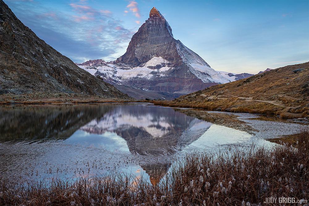 The iconic, pyramid-shaped Matterhorn peak, 4,478 metres high, 14,692ft.