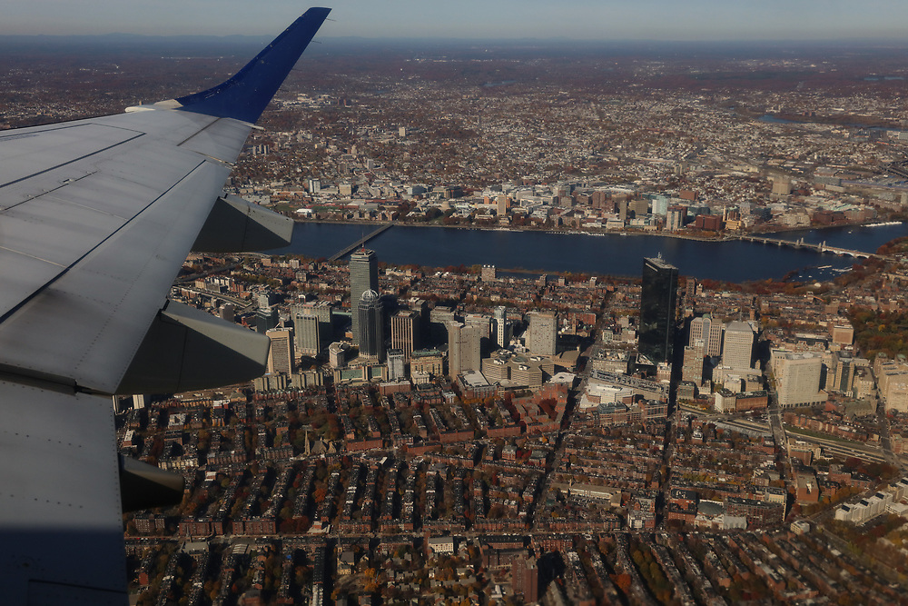 An aerial view of Boston's Back Bay seen from the window seat of a departure out of Logan.