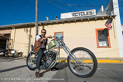 Scot Hoepker of Chemical Candy paint on a Jim Harper built (Jim's Choppers) Harley-Davidson Shovelhead at the Biltwell Bash at Robison's Cycles during Daytona Bike Week 75th Anniversary event. FL, USA. Friday March 11, 2016.  Photography ©2016 Michael Lichter.