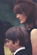 Jackie Kennedy and son John John at a ceremony at the grave of Robert Kennedy on the year anniversity of his assasination.  Photo by Dennis Brack bb72