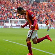 Galatasaray's Umut Bulut celebrate his goal during their Turkish Super League soccer match Galatasaray between Kardemir Karabukspor at the AliSamiYen Spor Kompleksi TT Arena at Seyrantepe in Istanbul Turkey on Sunday, 05 April 2015. Photo by Aykut AKICI/TURKPIX