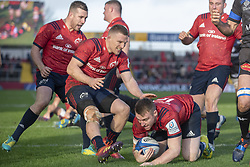 December 9, 2018 - Limerick, Ireland - Rory Scannell of Munster scores a try during the Heineken Champions Cup Round 3 match between Munster Rugby and Castres Qlympique at Thomond Park Stadium in Limerick, Ireland on December 9, 2018  (Credit Image: © Andrew Surma/NurPhoto via ZUMA Press)