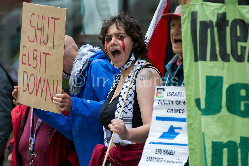 Activists from Palestine Action protest outside the UK headquarters of Elbit Systems, an Israel-based company developing technologies used for military applications including drones, precision guidance, surveillance and intruder-detection systems, on 28th May 2021 in London, United Kingdom. Pro-Palestinian activists had organised the protest against Elbits presence in the UK and against British arms sales to and support for Israel.