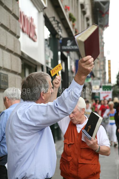 Religious preachers on Henry Street in Dublin Ireland
