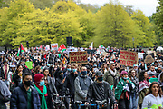 London, United Kingdom, May 15, 2021: Thousands of people march towards the Israeli Embassy in central London, to express their solidarity with Palestinians on Saturday, May 15, 2021. This is the 3rd week of ongoing demonstrations across the United Kingdom with 25 demonstrations taking place across the country today. (Photo by Vudi Xhymshiti/VXP)