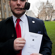 A young member of the Labour Party after attending the funeral. The funeral of Tony Benn at St Margaret's Church Westminster Abbey. Tony Benn was a politician, MP and peace activist fighting for social justice.
