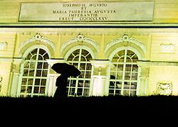 30.05.2013, Schoenbrunner Schlosspark, Wien, AUT, Sommernachtskonzert der Wiener Philharmoniker, im Bild Person mit Schirm vor Gloriette // Visitor with Umbrella in front of Gloriette during summer night concert of the viennese philharmonic orchestra, chateau park Schoenbrunn, Vienna, Austria on 2013/05/30, EXPA Pictures © 2013, PhotoCredit: EXPA/ Michael Gruber