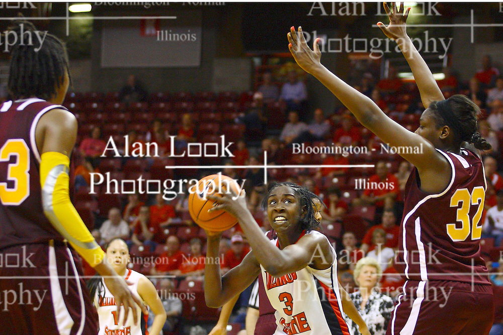 15 March 2012:  Candace Sykes works the fake against Jas'mine Bracey during a first round WNIT basketball game between the Central Michigan Chippewas and the Illinois Sate Redbirds at Redbird Arena in Normal IL