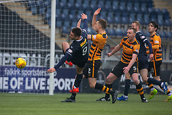 Falkirk's Aaron Jarvis misses a chance. Falkirk 1 v 2 Alloa Athletic, Scottish Championship game played 6/4/2019 at The Falkirk Stadium.