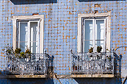 Typical Portugese Azulejos tiles and balconies in residential area in Lisbon, Portugal