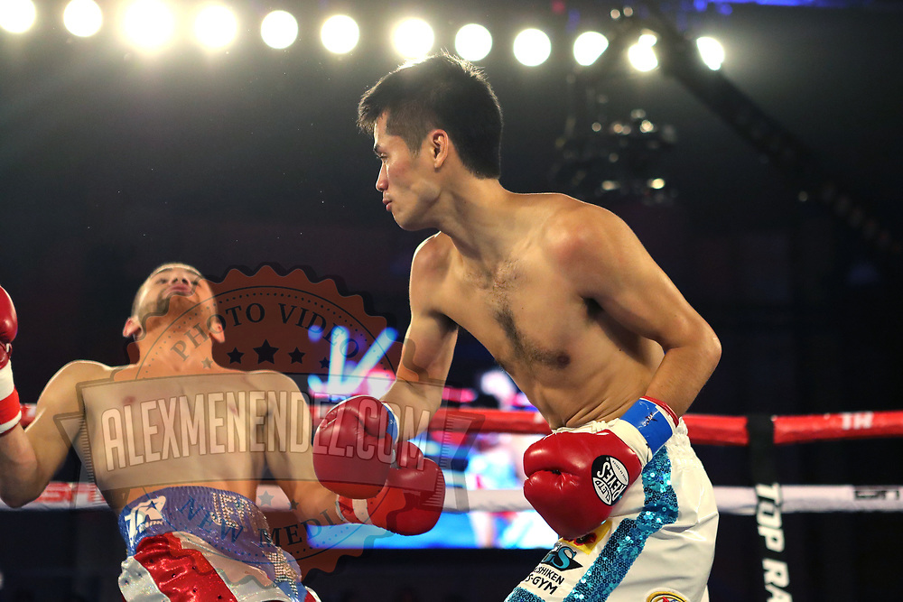 KISSIMMEE, FL - MAY 25: Koki Eto knocks out Jeyvier Cintron during their WBO International Title fight at Osceola Heritage Park on May 25, 2019 in Kissimmee, Florida. (Photo by Alex Menendez/Getty Images) *** Local Caption *** Koki Eto; Jeyvier Cintron