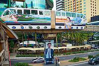 Malaisie, Etat de Selangor, Kuala Lumpur, le KL monorail, metro aerien // Malaysia, Selangor state, Kuala Lumpur, KL monorail train