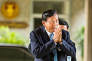 08 AUGUST 2014 - BANGKOK, THAILAND:       Gen BOONSANG NIAMPRADIT, a member of the National Legislative Assembly, arrives at the Parliament in Bangkok. The Thai National Legislative Assembly (NLA) met Friday at the Parlimanet Building in Bangkok to elect legislative leadership. The NLA was appointed by the Thai junta, formally called the National Council for Peace and Order (NCPO), and is supposed to guide Thailand back to civilian rule after a military coup overthrew the elected government in May. There are 197 members of the NLA. Membership is tilted towards military personnel. From the Royal Thai Army 40 members are Generals, 21 are Lt. Generals and 7 are Major Generals. From the Royal Thai Air Force 17 are Air Chief Marshals and 2 are Air Marshals. From the Royal Thai Navy, 14 are Admirals and 5 are Vice Admirals. There are also 6 Police Generals and 3 Police Lt. Generals. There are 187 men in the NLA and only 10 women. PHOTO BY JACK KURTZ