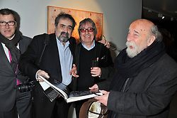 ALAN DAVIDSON, BILL WYMAN and ROY ACKERMAN at a private view of Bill Wyman - Reworked held at the Rook & Raven Gallery, 7 Rathbone Place, London W1 on 26th February 2013.