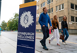 Edinburgh, Scotland, UK. 13 September, 2020. Preparations for start of term at Edinburgh University. Freshers' Week starts Monday 14  September and work is being carried out  on campus to allow students to enjoy their lives as far as possible bearing in mind the restrictions on social distancing due to the Covid-19 pandemic. Pictured;  Sign welcoming new students to the University. Iain Masterton/Alamy Live News