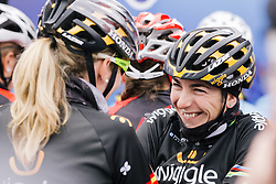 Giorgia Bronzini and Anna Sanchis share a joke in a cold Cholet.
