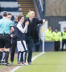 Raith Rovers Chris Johnston and Raith Rovers manager John Hughes. Raith Rovers 1 v 1 Hibernian, Scottish Championship game played 18/2/2017 at Starks Park.