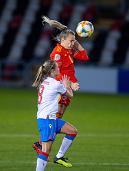 NEWPORT, WALES - Thursday, October 22, 2020: Wales' Josie Green heads the ball during the UEFA Women's Euro 2022 England Qualifying Round Group C match between Wales Women and Faroe Islands Women at Rodney Parade. Wales won 4-0. (Pic by David Rawcliffe/Propaganda)