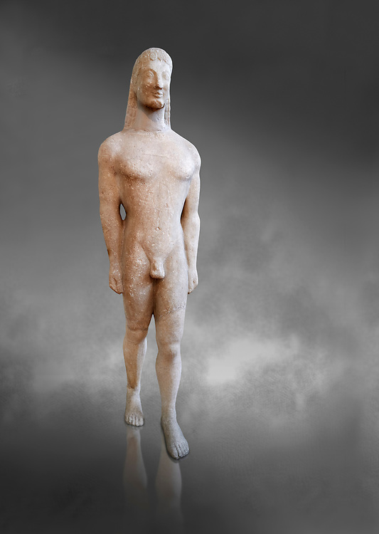Naxian marble Ancient Greek Archaic statue of a kouros, found on Thera, circa 590-570 BC BC, Athens National Archaeological Museum. Cat no 8.  Against grey.<br /> <br /> This statue is typical of a Thera island workshop .<br /> <br /> If you prefer to buy from our ALAMY STOCK LIBRARY page at https://www.alamy.com/portfolio/paul-williams-funkystock/greco-roman-sculptures.html . Type -    Athens    - into LOWER SEARCH WITHIN GALLERY box - Refine search by adding a subject, place, background colour, etc.<br /> <br /> Visit our ROMAN WORLD PHOTO COLLECTIONS for more photos to download or buy as wall art prints https://funkystock.photoshelter.com/gallery-collection/The-Romans-Art-Artefacts-Antiquities-Historic-Sites-Pictures-Images/C0000r2uLJJo9_s0