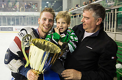 Ales Music of Olimpija with his son celebrate after they became Slovenian National Champion 2016 after winning during ice hockey match between HDD Telemach Olimpija and HDD SIJ Acroni Jesenice in Final of Slovenian League 2015/16, on April 11, 2016 in Hala Tivoli, Ljubljana, Slovenia. Photo by Vid Ponikvar / Sportida