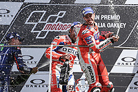 Ducati's Team rider Italian Andrea Dovizioso, winner  the Moto GP Grand Prix at the Mugello race track on June 4, 2017 celebrates on the podium. MotoGP Italy Grand Prix 2017 at Autodromo del Mugello, Florence, Italy on 4th June 2017. <br /> Photo by Danilo D'Auria.<br /> <br /> Danilo D'Auria/UK Sports Pics Ltd/Alterphotos
