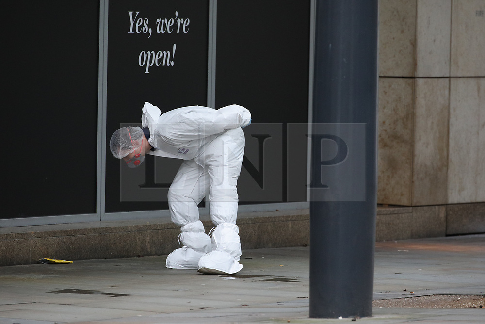 © Licensed to London News Pictures. 11/10/2019. Manchester, UK. Police are investigating after four people were stabbed at the Arndale Centre in Manchester City Centre. Photo credit: Joel Goodman/LNP