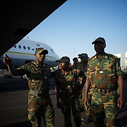 anuary 17, 2013 - Bamako, Mali: First group of forty five Togolese army men arrive at Bamako International Airport to take part in the international force deployed to Mali to defend the country against the islamists rebel groups advancing from the northern areas of the country. Several insurgent groups have been fighting a campaign against the Malian government for independence or greater autonomy for northern Mali, an area known as Azawad. The National Movement for the Liberation of Azawad (MNLA), an organisation fighting to make Azawad an independent homeland for the Tuareg people, had taken control of the region by April 2012.<br /> <br /> Last week the Malian government pledge France to help the national army stop the rebellion advance towards the capital Bamako. The french troops started aerial attacks on rebel positions in the centre of the country and deployed several hundred special forces men to counter attack the advance on the ground. (Paulo Nunes dos Santos/Polaris)