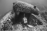 Saphis wreck of mediterranean sea.<br /> <br /> Spahis is an steam ship of 52,80 m of length and 7,45 m of wide launched in 1864. On October 9th, 1887, with 20 men of crew and 80 passengers, Spahis, blinded by the thunderstorm, in a black night, throws itself on the site of Fourmigue.<br /> <br /> Le Spahis est un vapeur en fer de 52,80 m de long et 7,45 m de large lancé en 1864. Le 9 octobre 1887, avec 20 hommes d'équipage et 80 passagers, le Spahis, aveuglé par l'orage, dans une nuit noire, se jette sur le sec de la Fourmigue.