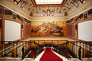 Stairway with painting of Acullies at the Achilleion  [ Achilles, ???????? ]  Palace [ 1890 built by Elizabeth [ Sissi ] Emperess of Austria .<br /> <br /> If you prefer to buy from our ALAMY PHOTO LIBRARY  Collection visit : https://www.alamy.com/portfolio/paul-williams-funkystock/corfugreece.html <br /> <br /> Visit our GREECE PHOTO COLLECTIONS for more photos to download or buy as wall art prints https://funkystock.photoshelter.com/gallery-collection/Pictures-Images-of-Greece-Photos-of-Greek-Historic-Landmark-Sites/C0000w6e8OkknEb8