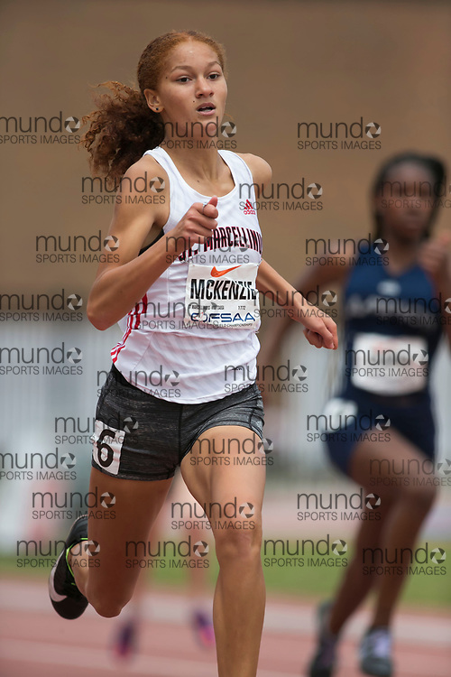(York, Canada---09 June 2018) Nicole McKenzie in the midget girls 200m heats at the 2018 OFSAA Ontario High School Track and Field Championships at York Lions Stadium. (Photo by Sean Burges/Mundo Sport Images)