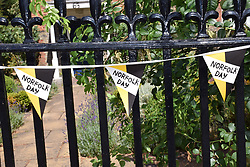 Bunting in Norwich for the inaugural Norfolk Day on 27 July 2018 UK