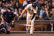 San Francisco Giants third baseman Conor Gillaspie (21) throws his bat after hitting a pop up against the Colorado Rockies at AT&T Park in San Francisco, Calif., on September 27, 2016. (Stan Olszewski/Special to S.F. Examiner)