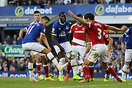 Kevin Mirallas of Everton pokes the ball forward but his effort was saved. Premier league match, Everton v Middlesbrough at Goodison Park in Liverpool, Merseyside on Saturday 17th September 2016.<br /> pic by Chris Stading, Andrew Orchard sports photography.