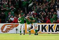 Photo: Andrew Unwin.<br />Northern Ireland v Wales. World Cup Qualifier.<br />08/10/2005.<br />Northern Ireland celebrate as Keith Gillespie (C) pulls a goal back for his team.