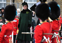 The Duke and Duchess of Cambridge attend the St Patrick's Day Parade at Cavalry Barracks, Hounslow, London, UK, on the 17th March 2018. Picture by Andrew Parsons/WPA-Pool. 17 Mar 2018 Pictured: Catherine, Duchess of Cambridge, Kate Middleton. Photo credit: MEGA TheMegaAgency.com +1 888 505 6342