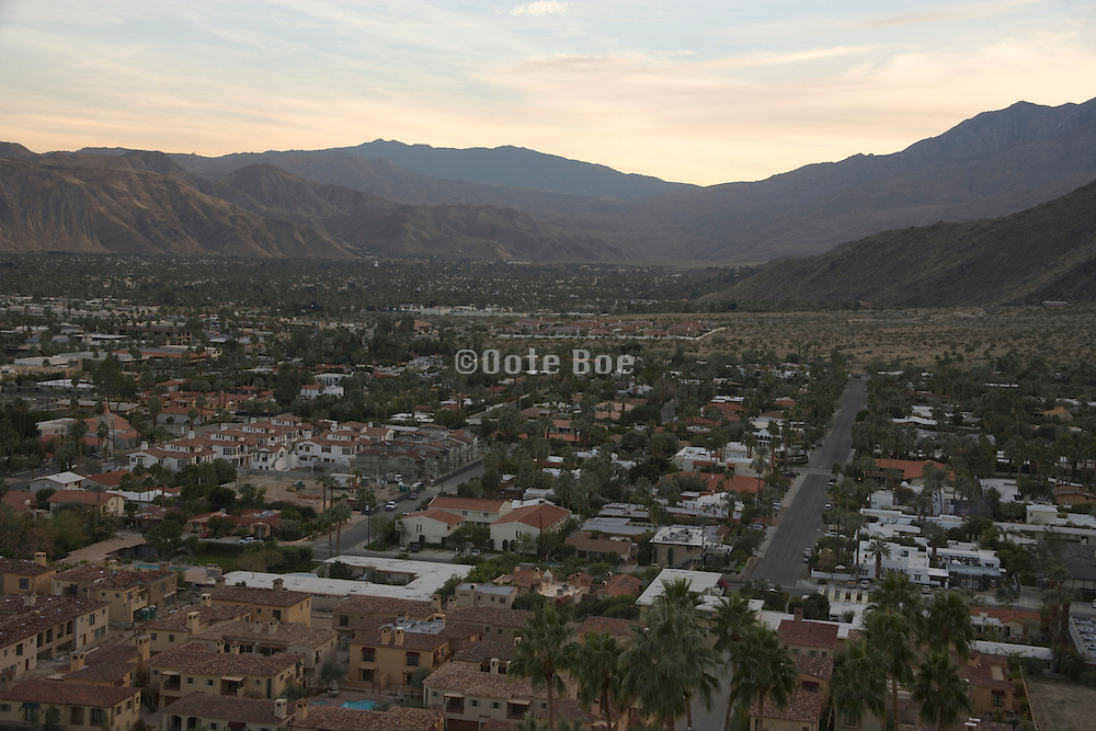 overview of Palm Springs at the beginning of sunset
