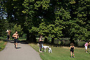 "Man out doing some jogging for exercise. Hampstead Heath (locally known as ""the Heath"") is a large, ancient London park, covering 320 hectares (790 acres). This grassy public space is one of the highest points in London, running from Hampstead to Highgate. The Heath is rambling and hilly, embracing ponds, recent and ancient woodlands."