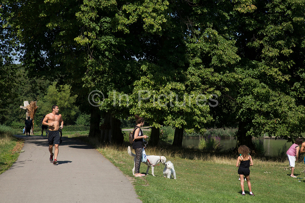 """Man out doing some jogging for exercise. Hampstead Heath (locally known as """"the Heath"""") is a large, ancient London park, covering 320 hectares (790acres). This grassy public space is one of the highest points in London, running from Hampstead to Highgate. The Heath is rambling and hilly, embracing ponds, recent and ancient woodlands."""