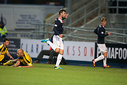 Falkirk's Rory Loy scoring their fourth goal.<br /> Falkirk 4 v 1 Livingston, Scottish Championship game played today at the Falkirk Stadium.<br /> ©Michael Schofield.