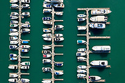 Aerial drone image of Burnham Harbor and the Chicago skyline on Wednesday, Aug. 5, 2020<br /> <br /> Photo by Mark Black Photography